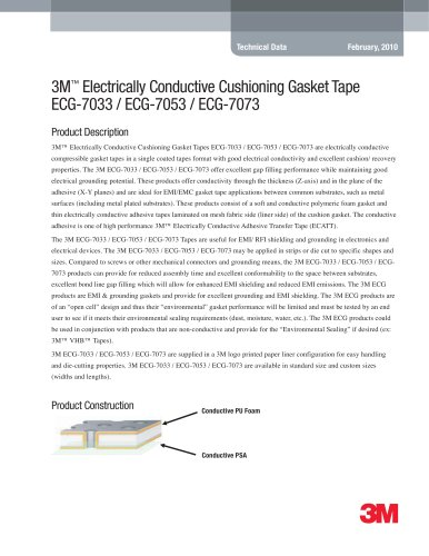 3M Electrically Conductive Cushioning Gasket Tape ECG-7033 / ECG-7053 / ECG-7073