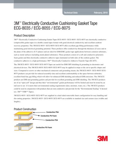3M Electrically Conductive Cushioning Gasket Tape ECG-8035 / ECG-8055 / ECG-8075