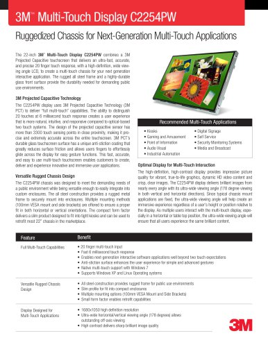 3M Multi-Touch Display C2254PW Product Data Sheet