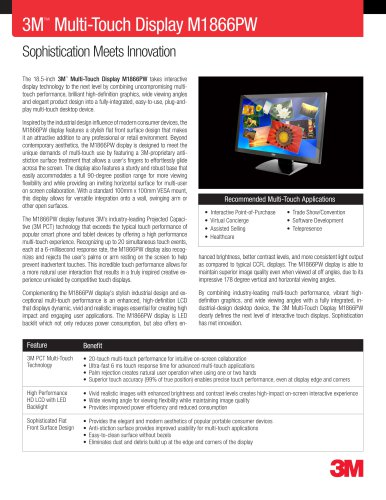 3M Multi-Touch Display M1866PW Product Data Sheet