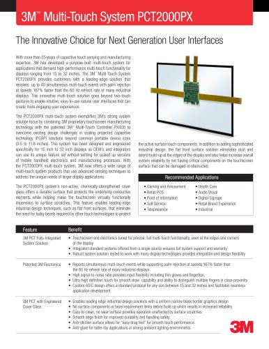3M Multi-Touch System PCT2000PX Product Data Sheet