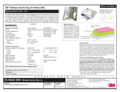 3M(TM) Dri-Shield Moisture Barrier Bag 3000 Data Sheet