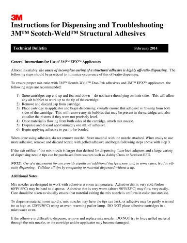 I nstructions for Dispensing and T roubleshooting 3M? Scotch - Weld? Structural Adhesives