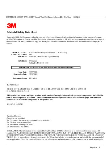MATERIAL SAFETY DATA SHEET  Scotch - Weld(TM) Epoxy Adhesive 2216 B/A, Gray