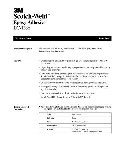 Scotch-Weld TM Epoxy Adhesive EC-1386