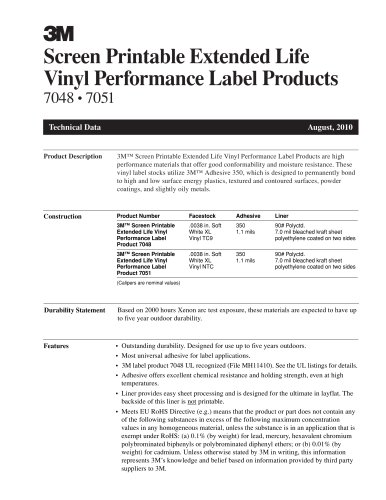 Screen Printable Extended Life Vinyl Performance Label Products 7048 ? 7051