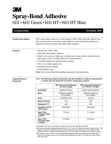 Spray-Bond Adhesive 6111 ? 6111 Green ? 6111 HT ? 6111 HT Blue