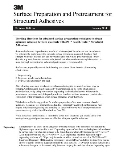 Surface Preparation and Pretreatment for Structural Adhesives