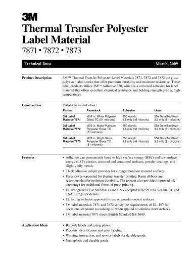 Thermal Transfer Polyester Label Material