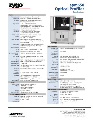 APM650™ PC Board Packaging Metrology System Specifications