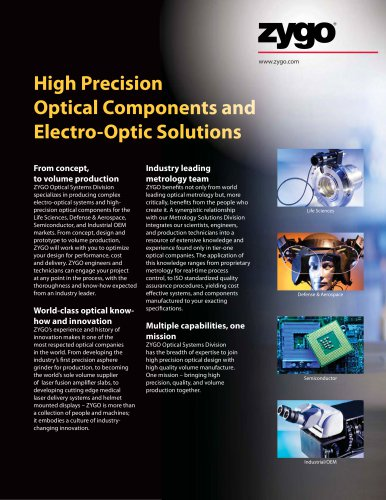 High Precision Optical Components and Electro-Optic Solutions