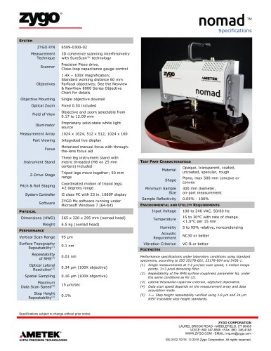 Nomad™ Portable Optical Profiler Specifications