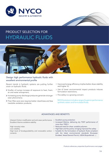 PRODUCT SELECTION FOR HYDRAULIC FLUIDS