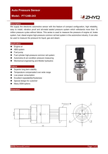ZHYQ Automotive pressure transmitter for engine oil, brake system, fuel in the automotive industry