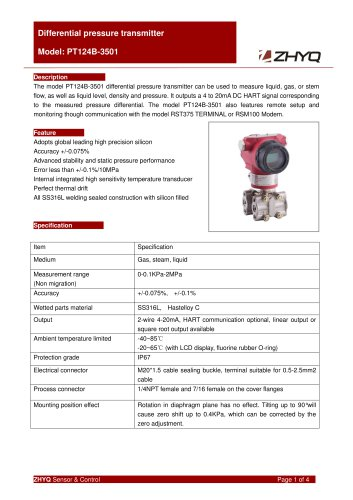ZHYQ Differential Pressure Transmitter PT124B-3501 for oil, gas and steam pressure measurement