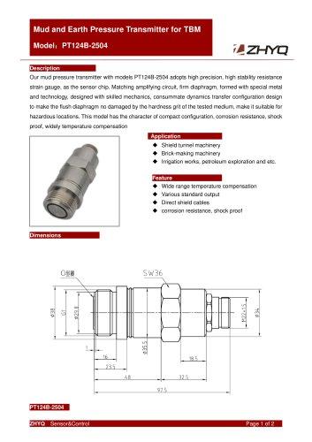 ZHYQ Durable Pressure Transmitter PT124B-2504 for Tunnel Boring Machine