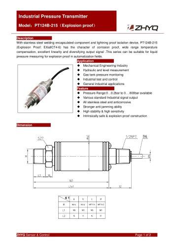 ZHYQ Explosion Proof Pressure Transmitter PT124B-215 pressure measurement for Hazardous Locations