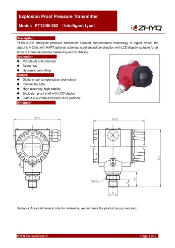 ZHYQ Explosion proof pressure transmitter PT124B-282 pressure measurement for hazardous area
