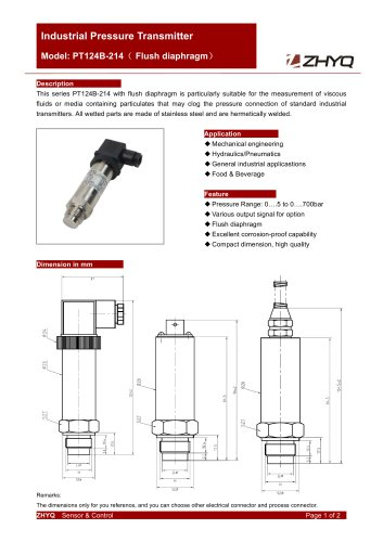 ZHYQ Flush diaphragm pressure transmitter for polyurethane device