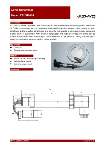 ZHYQ Level Transmitter PT124B-224  for corrosive liquid measurement