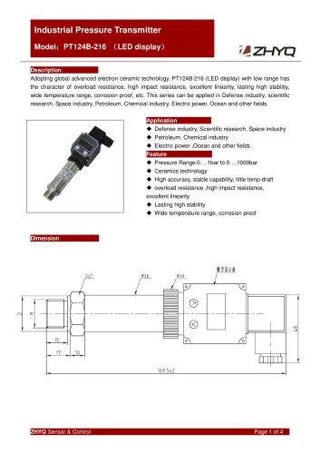 ZHYQ Local Display Pressure Transmitter PT124B-216 for industrial pressure measurement
