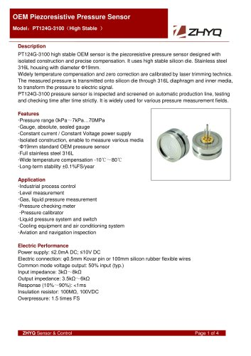 ZHYQ OEM Pressure Sensor PT124G-3100 for pressure measurement