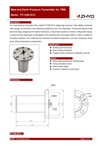 ZHYQ Pressure transmitter PT124B-2513 for Tunnel boring machine