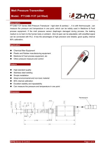 ZHYQ PT124B-113T rigid melt pressure transmitter for sanitary pressure measurement