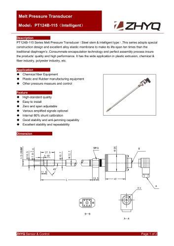 ZHYQ PT124B-115 rigid melt pressure transmitter for plastic extruder