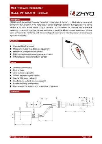 ZHYQ PT124B-122T fleixble melt pressure transmitter for sanitary pressure measurement