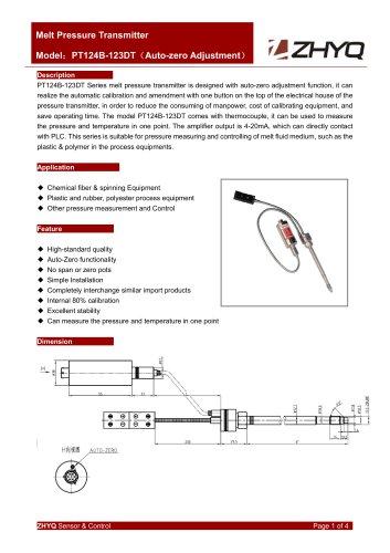 ZHYQ PT124B-123DT Auto Zero flexible melt pressure transmitter for palstic extruder