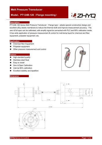 ZHYQ PT124B-126 Flexible melt pressure transmitter with flange mounting for plastic extruder