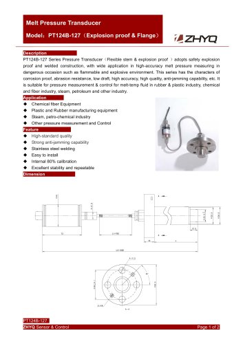 ZHYQ PT124B-127 Flexible melt pressure transmitter with flange mounting for plastic extruder