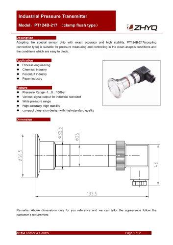 ZHYQ PT124B-217 Clamp type pressure transmitter for sanitary pressure measurement