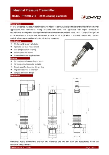 ZHYQ PT124B-218 Moderate and high temperature pressure transmitter for pressure measurement and control