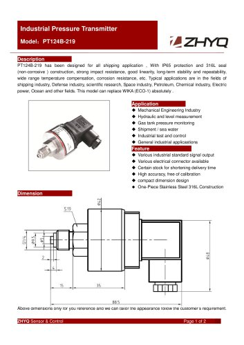 ZHYQ PT124B-219 Industrial Pressure Transmitter for marine or sea water