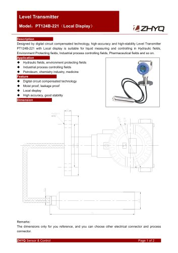ZHYQ PT124B-221 level sensor with local display