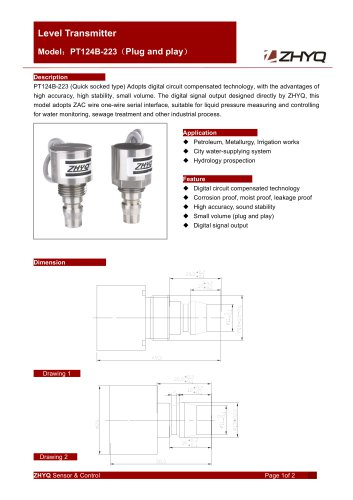 ZHYQ PT124B-223 level sensor with fast plug