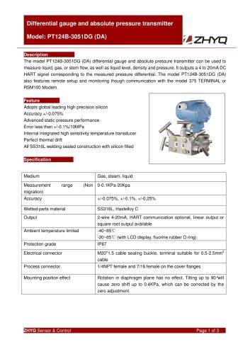 ZHYQ PT124B-3051DG differential pressure transmitter for pharmacy industry