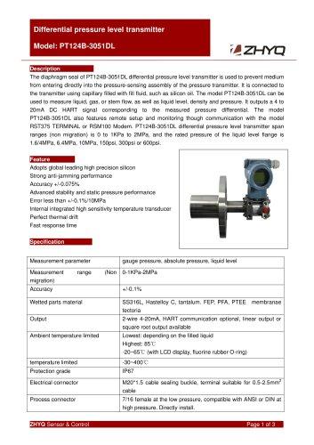 ZHYQ PT124B-3051DL differential pressure transmitter for pharmacy industry