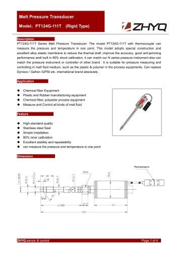 ZHYQ PT124G-111T rigid melt pressure transducer for plastic extruder