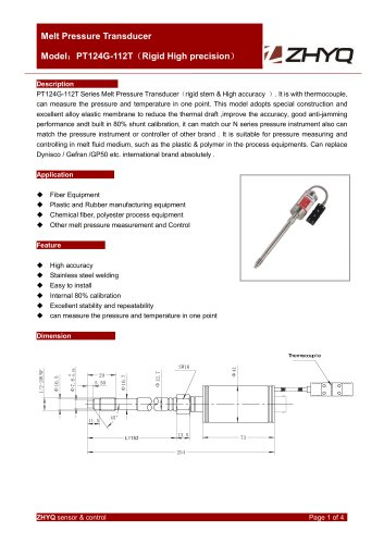 ZHYQ PT124G-112T high accuracy melt pressure transducer for plastic extruder