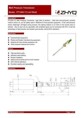 ZHYQ PT124G-113 oil filled rigid melt pressure transducer