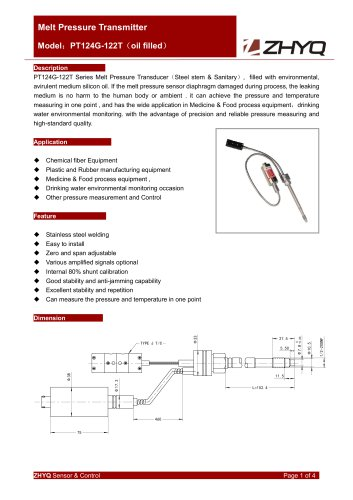 ZHYQ PT124G-122T oil filled flexible melt pressure transmitter