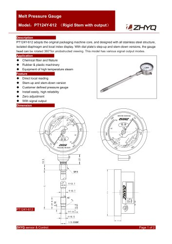ZHYQ PT124Y-612 Mechanical rigid melt pressure gauge with output