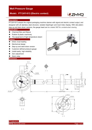 ZHYQ PT124Y-613 Electrical contact rigid stem melt pressure gauge
