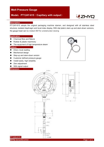 ZHYQ PT124Y-615 Mechanical flexible stem melt pressure gauge