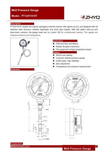 ZHYQ PT124Y-615T Mechanical flexible stem melt pressure gauge