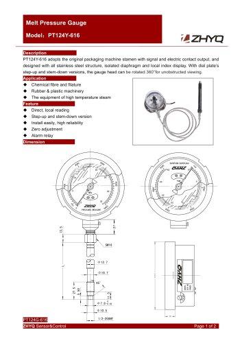 ZHYQ PT124Y-616 Electric contact flexible stem melt pressure gauge