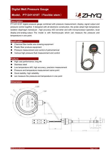 ZHYQ PT124Y-618T Digital mechanical flexible melt pressure gauge for chemical fibre
